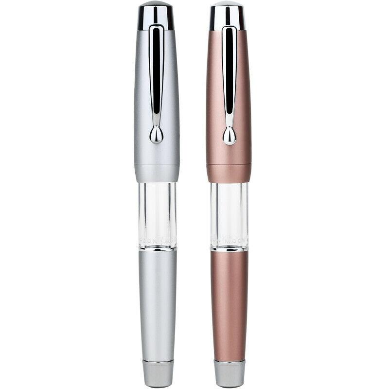 Moonman T2 Elastic Piston Fountain Pen Acrylic Metal Matte Body F 0.5mm Nib Fountain Pens Office School Stationery Writing Gift