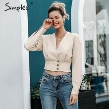 Simplee Elegant v neck women blouse shirt Long sleeve button female top shirt Autumn casual streetwear ladies blouse shirt 2019