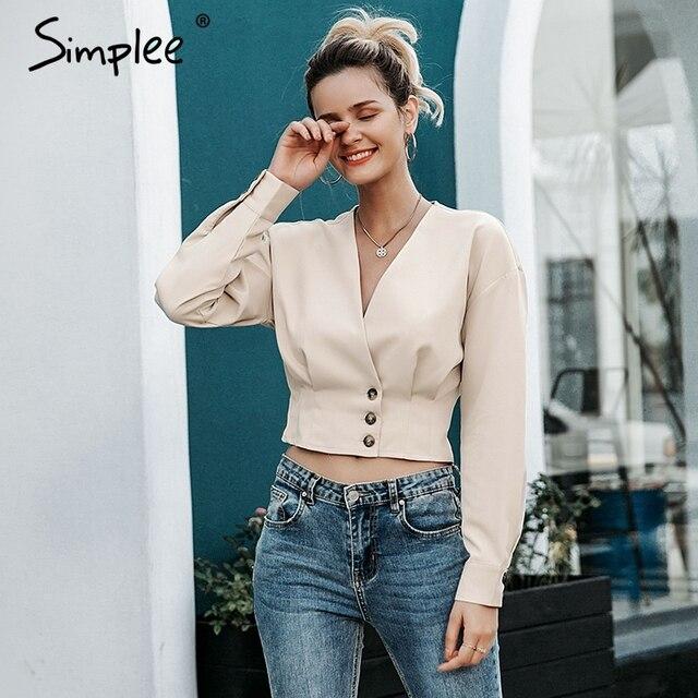 Simplee élégant col en v femmes blouse chemise à manches longues bouton femme chemise haute automne décontracté streetwear dames blouse chemise 2019