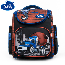 Delune School Bags Cartoon for Girls Bear Car Orthopedic Backpack Printing Children Mochila Infantil