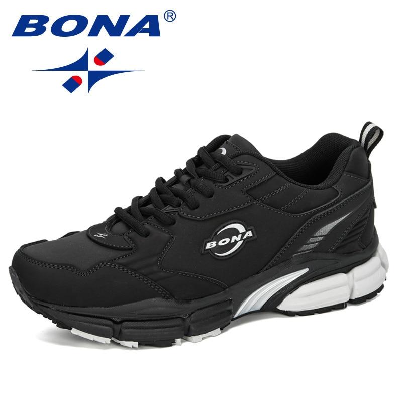 BONA 2020 New Arrival Cow Split Running Shoes Men Outdoor Jogging Sport Shoes Man Krasovki Walking Sneakers Male Athletic Shoes