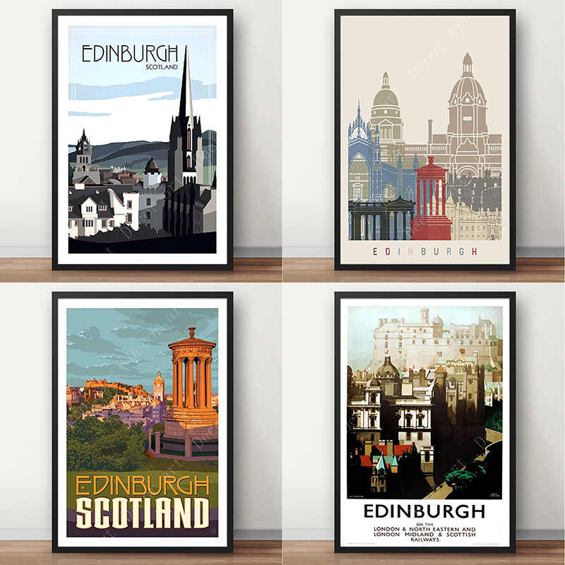 Edinburgh Waverley Station  Scotland  National Rail  Minimal Map Poster Print  Subway Style Wall Art  Canvas Home Decor  Travel Gift