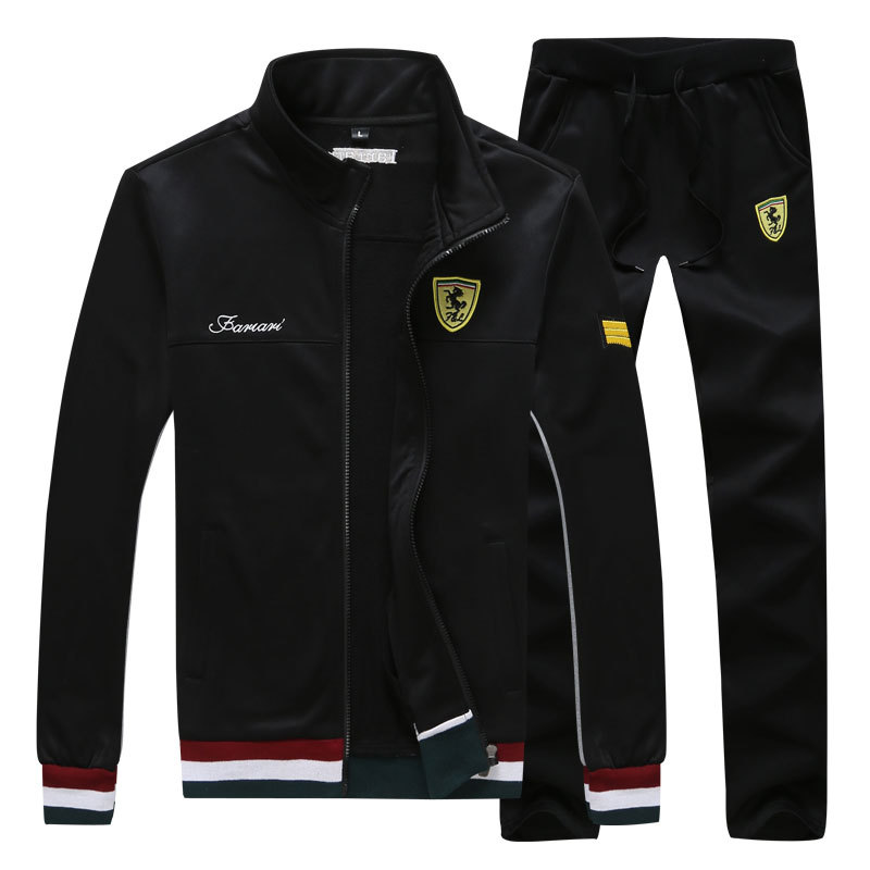 New Style Spring And Autumn Ferrari Solid Color Stand Collar Thin Jacket Men's Korean-style Leisure Sports Suit Men's