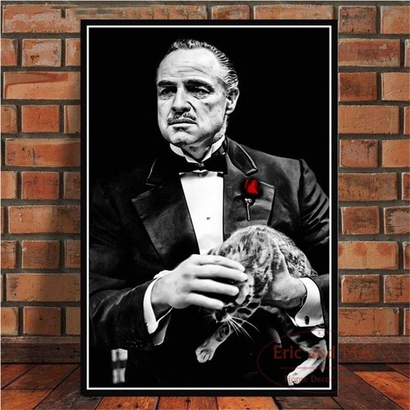 Pósteres e impresiones de la película del padrino Marlon Brando Al Pacino Poster pared arte cuadro lienzo pintura para la decoración del hogar de la habitación