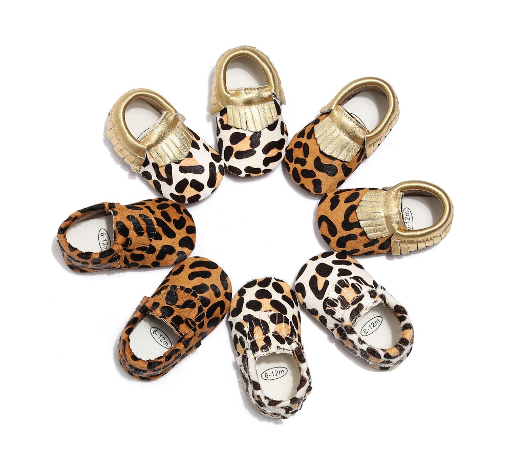 Genuine Leather Baby Shoes Leopard Print Baby Moccasins Horse Hair Baby Boys Girls First Walkers Baby Girls Soft Crib Shoes