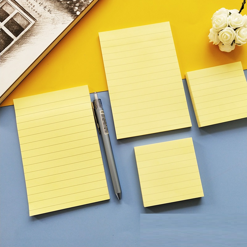 40/100Sheets/pc Basic Line Memo Pads Self-Adhesive Sticky Notes Yellow Color Two Sizes Stickers Message Note School Office 6424