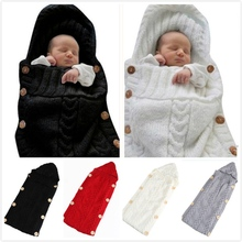 Crochet Sleeping-Bag Blanket Swaddle Wrap Knitted Newborn-Baby Girl Winter Infant Wool-Buttons