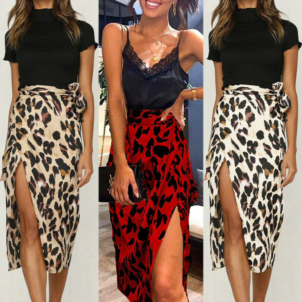 Женская юбка миди с леопардовым принтом и разрезом, летняя юбка с высокой талией для коктейльной вечеринки