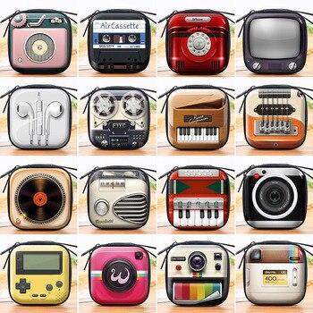 Креативный персонализированный Электрический мини кошелек в стиле ретро для монет, Детский кошелек для девочек, футляр для наушников, свад...