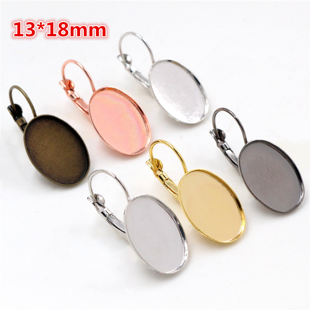 13x18mm 10pcs/lot 6 Colors Plated High Quality French Lever Back Earrings Blank/Base,Fit 13x18mm Oval Glass Cabochons