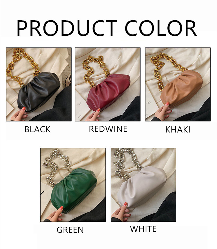 H6b8b7a229f0e495c8ecf306abc6812dbL - Women's Personality Thick Chain Soft Leather Cloud Bag Casual Wild Shoulder Bag Party Evening Clutch Bag Fashion Dumplings Bag