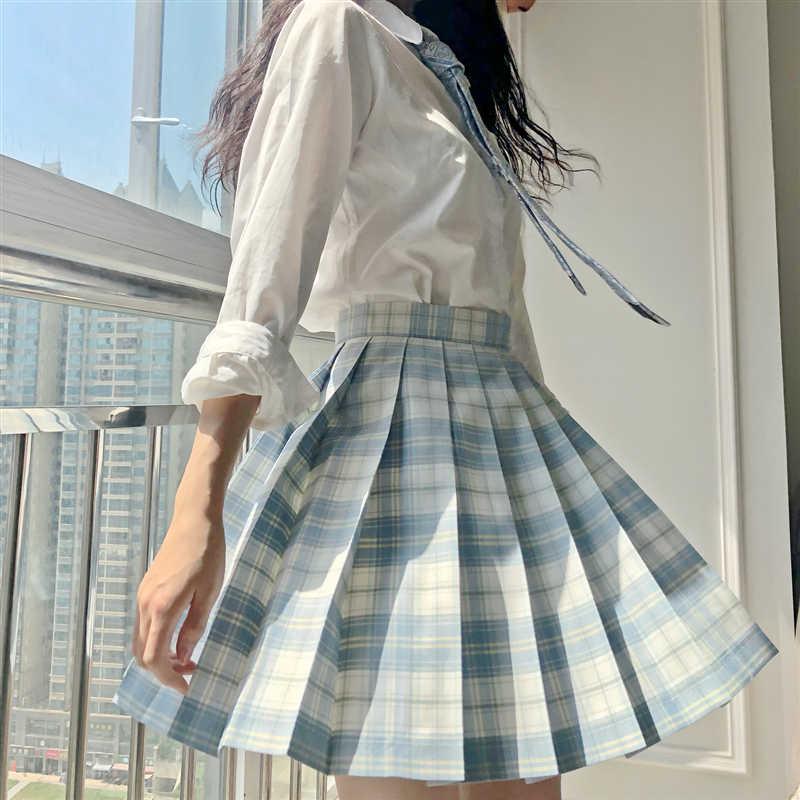 Rok Womanwomen Tinggi Seragam Sekolah Rok Biru Putih Kotak-kotak Pinggang Tinggi Academic Style Baru Wanita Seragam Sekolah Lipit rok