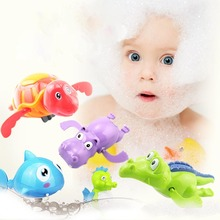 1Pcs Plastic Baby Bath Animal Toy Cartoon Animal Mechanical Construction Bath Toy Water Playing Toy for Baby Kids cute cartoon animal baby bath toy bathroom plastic mini bee water fountain shower kids bathtub playing bathing tools