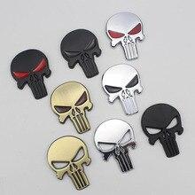 3D Metalen Punisher Auto Stickers Schedel Motorfiets Body Decals Truck Embleem Badge Waterdicht Auto Accessoires