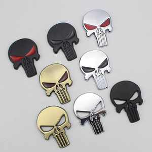 Image 1 - 3D 금속 Punisher 자동차 스티커 해골 오토바이 바디 데칼 트럭 엠블럼 배지 방수 자동차 액세서리
