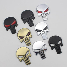 Car Styling 3D Metal The Punisher Skull Head Emblem Sticker Auto Motorcycle Exterior Waterproof Decorations Decal Accessories