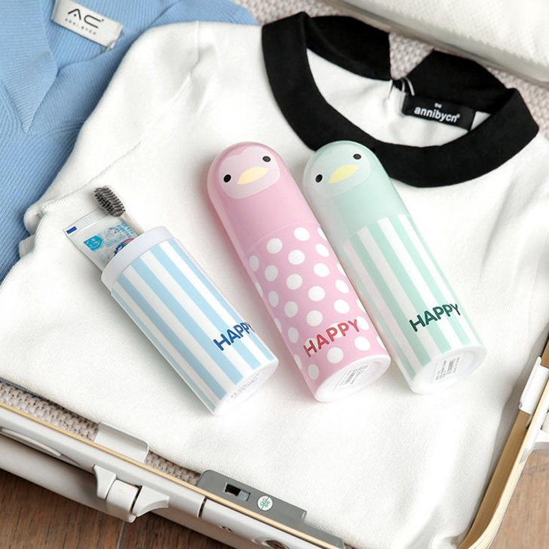 1 Pcs Kawaii Cute Penguin Cartoon Toothbrush Box Portable Travel Toothbrush Holder Sanitary Ware Suit Toothpaste Storage Box