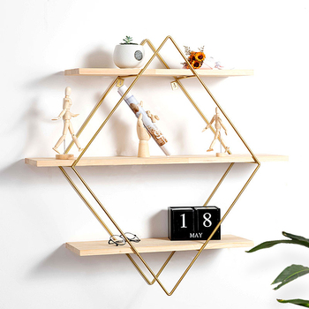 Nordic wall racks wrought iron wall hanging simple living room solid wood shelf study wall decoration storage rack
