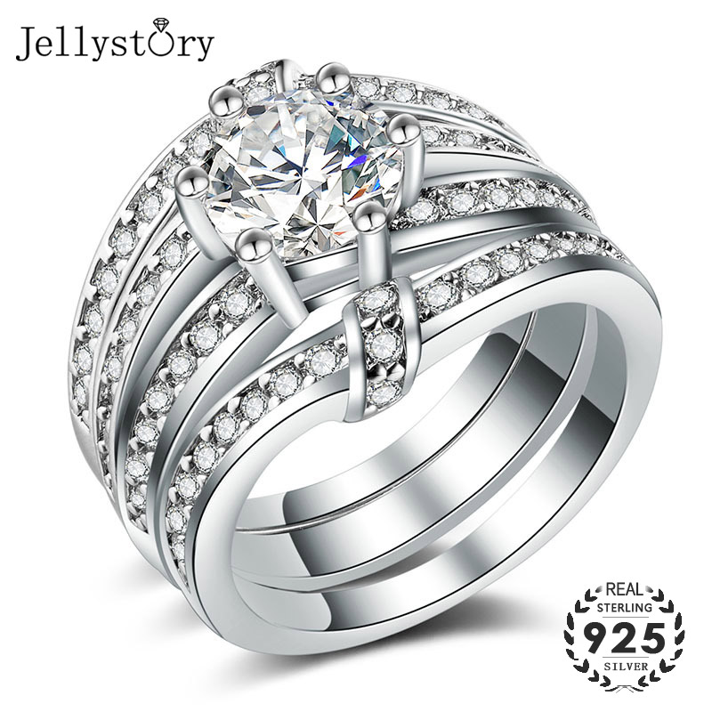 Jellystory luxury 925 sterling silver ring with AAA zircon gemstone fashion jewelry 3 in 1 rings for female wedding party gifts