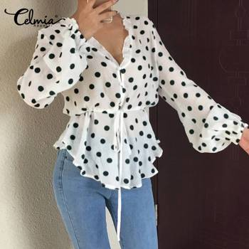 цена на Celmia Office Shirt Top Women Polka Dot Long Lantern Sleeve Blouse 2020 Fashion Ruffles Casual V neck Solid Tops Belte Blusas 7