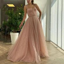 Prom-Dresses Tulle Sparkly-Stars Robe-De-Soiree Princess Thinyfull Pink-Color Draped-Top