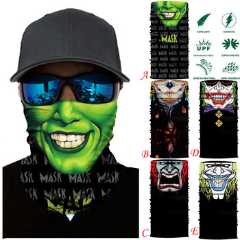 3D Seamless Magic Headband Skull Ghost Clown Neck Gaiter Face Cover Headwear Halloween Bandana UV Protection Biker Cover Scarf 3d seamless neck buff bandana face mask camouflage motorcycle ghost skull face halloween bandana scarves