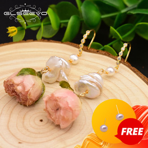 GLSEEVO Natural Fresh Water Baroque Pearl Drop Earrings For Women Party Really Flower Handmade Luxury Romantic Jewelry GE0492