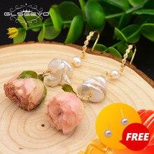 GLSEEVO pendientes colgantes de perlas barrocas de agua dulce Natural para mujer, flor auténtica para fiesta, joyería romántica de lujo hecha a mano, GE0492