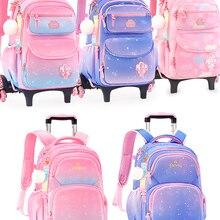 Original Disney Pull Rod Schoolbag For Girls Grade 3-6 Princess 3 Wheel Climbing Girls Dual Purpose Children's Backpack