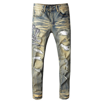 Sokotoo Men's snake embroidered retro denim jeans Slim skinny holes PU leather patchwork stretch pants