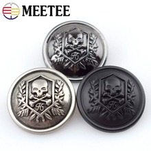 10pcs Meetee Skull Head Metal Buttons 12-25mm for Coat Decor Shank Button DIY Sewing Clothing Jacket Scrapbook Craft Accessories