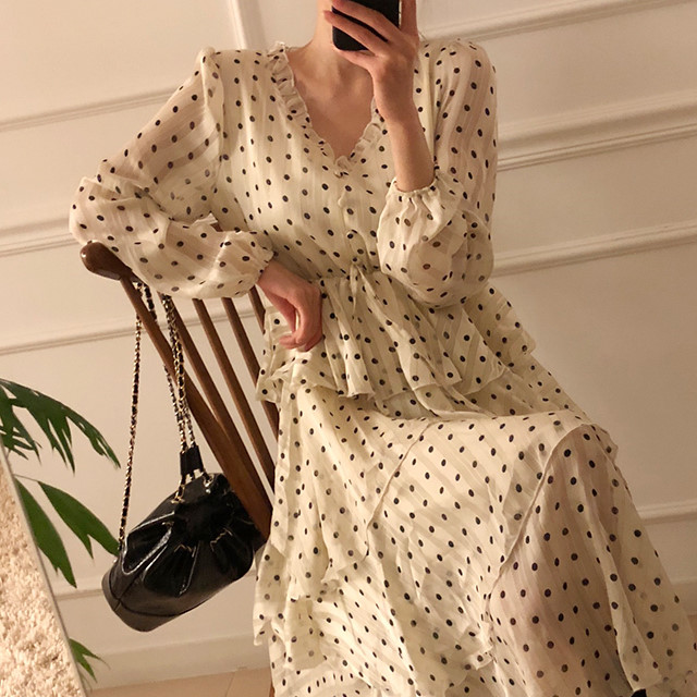 H6b8c07e4b5cb433cbb01d4d44c02cc3a3 - Autumn V-Neck Long Sleeves Satin Polka Dots Multi-Layers Midi Dress
