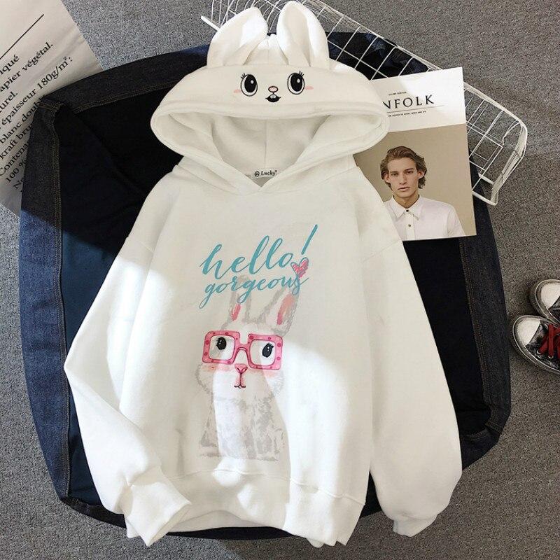 Milinsus 2019 Autumn Winter Women Sweatshirt Cute Cartoon Rabbit Oversized Hoodie Pullovers Bunny Long Sleeve Tops Harajuku