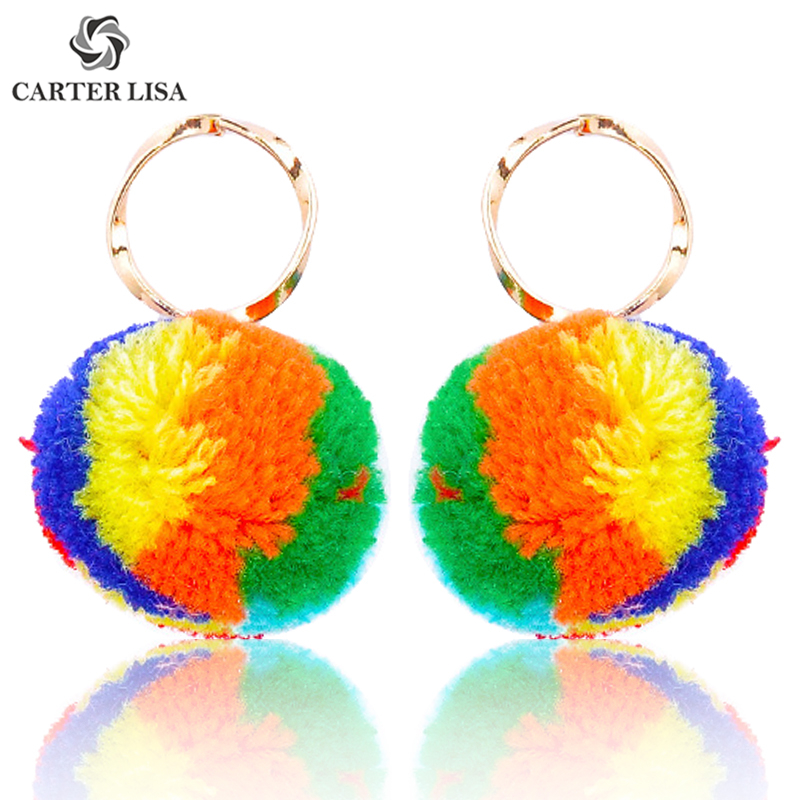 CARTER LISA Fancy Colorful Round Ball Pompom Statement Drop Earings For Women Girl Ethnic Bohemian Jewelry Party Gifts