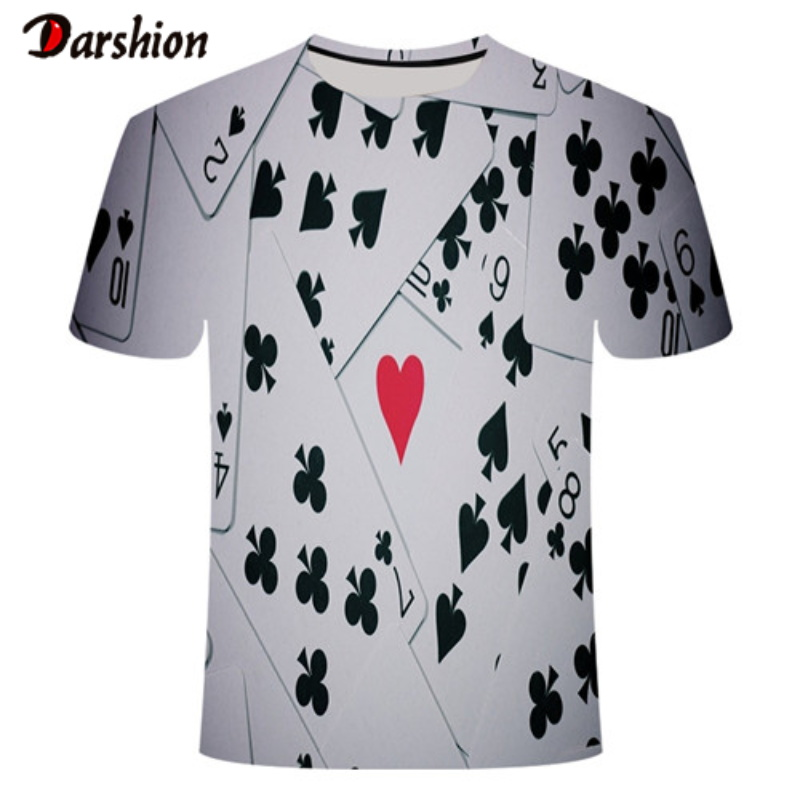 2020 Summer Cool Men Brand Poker T Shirt Playing Cards Clothes Gambling Shirts Las Vegas Tshirt Clothing Men Funny 3d T-shirts