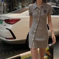 Bär Polo Kragen Kleid für Frauen Sommer Abnehmen Mantel