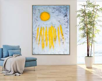 Abstract Painting Original Large Acrylic Canvas Wall Art Yellow Minimal Expressionism Modern Painting Wall Art On Canvas Sole
