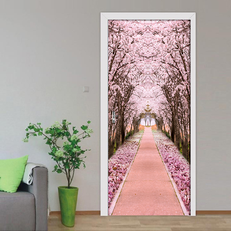 Self Adhesive Waterproof 3D Door Sticker Forest Cherry Tree Home Decoration Renew PVC Mural Paper Print Art Picture For Bedroom