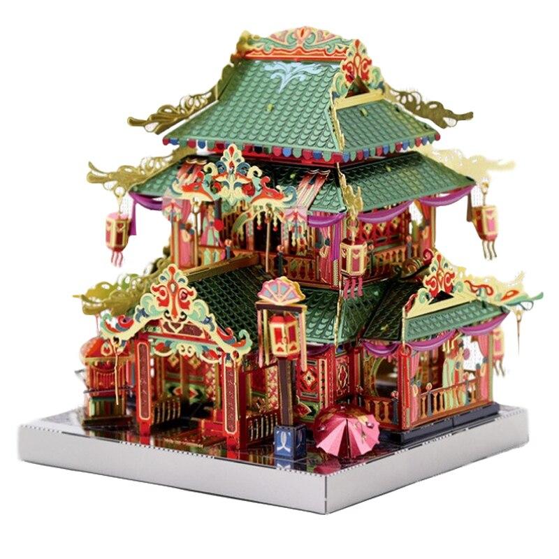 MU 3D Metal Puzzle Chinatown Building YI-HONG  COURTYARD Model Kits DIY 3D Assemble Jigsaw Toys LED Light GIFT For Children