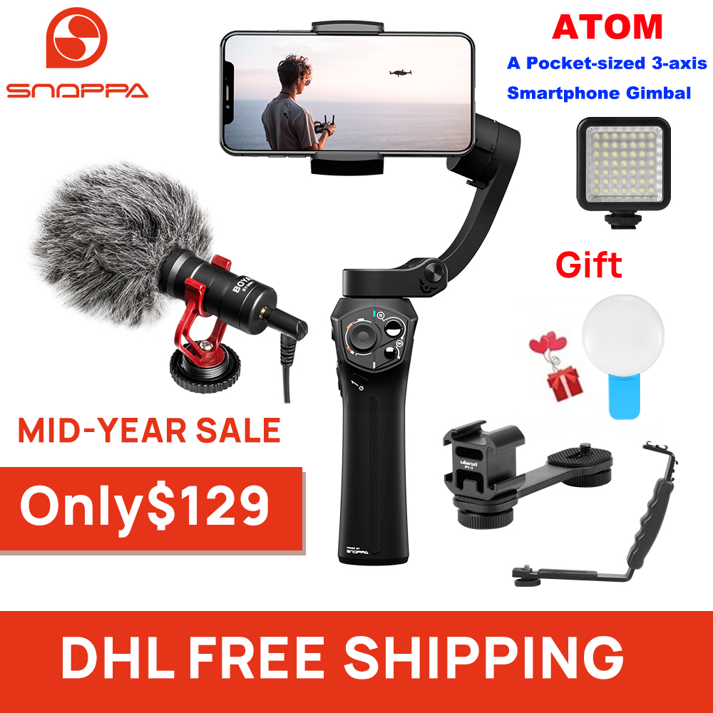 Snoppa Atom 3-Axis Handheld Gimbal Foldable Pocket-Sized Stabilizer for iPhone X huawei p30 Gopro hero 7 PK DJI OSMO Mobile 2