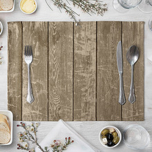 Imitation Wood Grain Placemat Linen Pad For Dining Table Mat Heat Insulation Non Slip Placemats Bowl Coaster 40*30cm