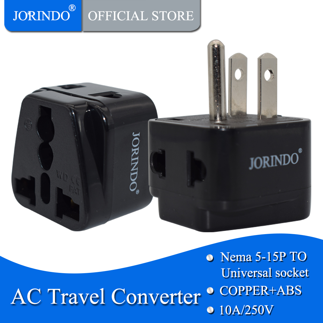 JORINDO copper USA <font><b>3pin</b></font> universal travel adaptor <font><b>plug</b></font> AU/<font><b>UK</b></font>/US/EU to US power Adaptor <font><b>plug</b></font> socket convertor image
