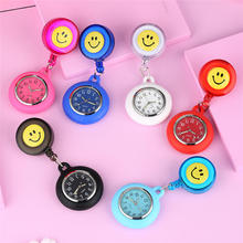 Nurse Watche Clip Colorful Smile Faces Quartz Pocket Watch fob Medical Nursery Clocks Pendant Hanging Watch reloj de enfermera free shipping silicone stainless round dial quartz fob woman quartz pocket watch nurse watch fob hanging medical