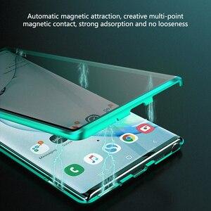 Image 3 - 2021 metalowa adsorpcja magnetyczna szklany pokrowiec do Samsung Galaxy Note 8 9 10 Plus S10 S9 S8 Plus ekran anty szpieg skrzynki pokrywa Coque