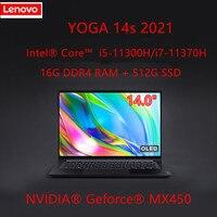 Lenovo YOGA-ordenador portátil 14s 2021 Intel i5-11300H/i7-11370H 16G RAM 512G SSD, notebook ligero Windows 10, pantalla de alta actualización