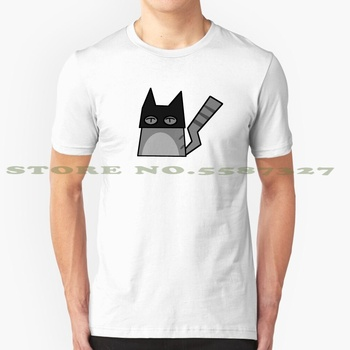 Batcat Black White Tshirt For Men Women Cartoon Cat Kitten Artsy Simple Hipster Animal Kids Teens Teenager Meme Skeptic image