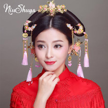 NiuShuya Traditional Chinese Pink Flower Bridal Hairpins Gold Long Tassel Wedding Bridal Jewelry Hair Accessories(China)