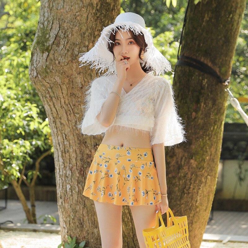 Swim Wear Women 2019 Women's Swimsuit Sports For Plus Size Tankini Female Japanese Cute Broken Flower Feathers Super Immortal