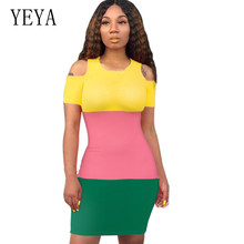 YEYA Women Summer Plus Size XXL Vintage Striped Mini Dress Short Sleeve Hollow Out Bodycon Female Casual Vestidos Clothing