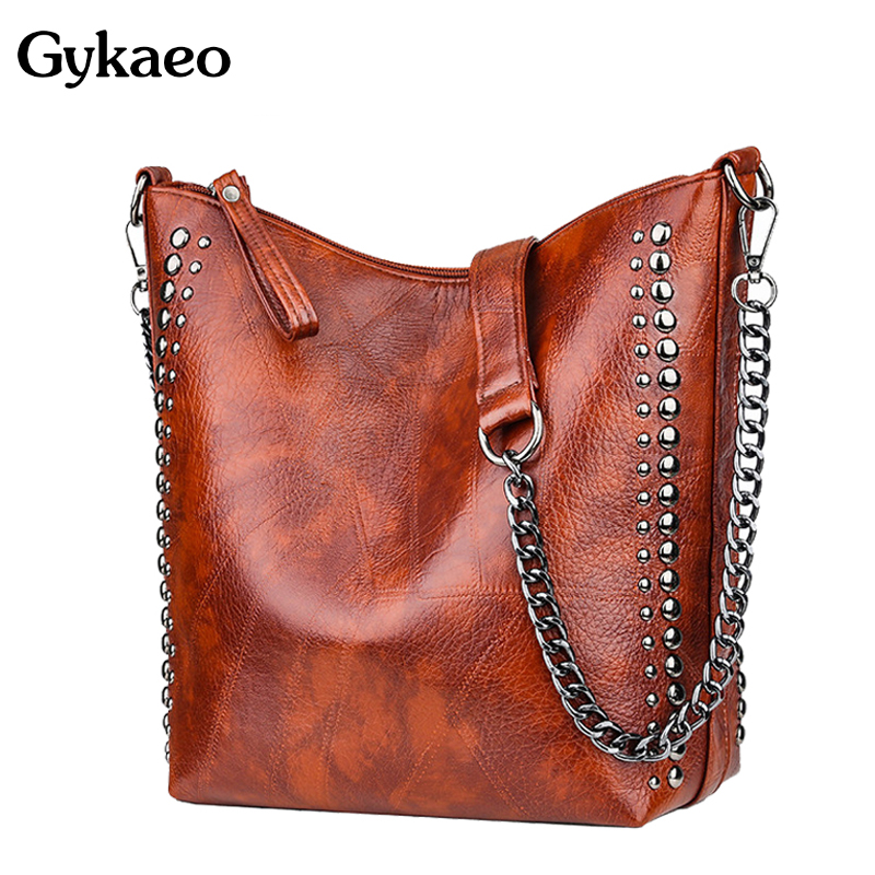 Gykaeo Winter Luxury Handbags Women Bags Designer Black Chains Bucket Shoulder Bag Ladies Casual Punk Style Rivet Messenger Bags
